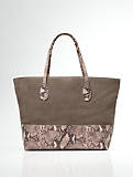 Colorblocked Suede and Faux-Python Tote