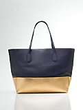 Colorblocked Leather and Metallic Tote