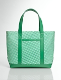 Gingham Check Canvas and Leather Tote