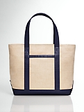 Colorblocked Canvas and Leather Tote