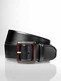 Wood-Buckle Leather Belt