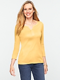 Luxe Interlock-Knit Notched Bateau Tee