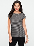 Platinum Jersey Striped Capped Sleeve Tee