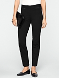 Signature Faux-Leather Trimmed Ponte Ankle Pants