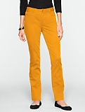 Slimming Curvy Peached Sateen Straight-Leg Pants