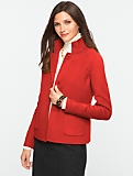 Band-Collar Double-Faced Jacket