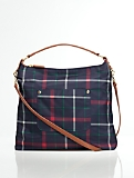 Tattersall Plaid Front-Pocket Hobo