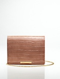 Croc-Embossed Leather Clutch