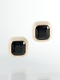 Faceted Enamel Cabochon Earrings