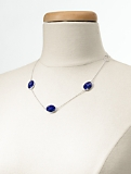 Sterling Silver & Lapis Cabochon Necklace