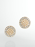 Pearl-Topped Disc Earrings
