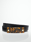 Leather Tortoiseshell Buckle Reversible Belt