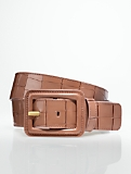 Croc-Embossed Covered-Buckle Belt