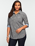 Heart Print Classic Cotton Shirt