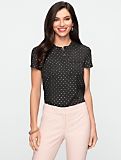 Short-Sleeved Band-Collar Dot-Print Shirt