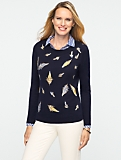Embroidered Feather Shoulder-Buttons Sweater
