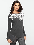 Cashmere Rose Intarsia Knit Sweater