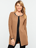 Merino Faux-Leather Trimmed Long Cardigan
