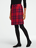 Red Plaid Faux-Wrap Skirt