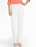 Signature Seasonless Crepe Ivory Straight-Leg Pants