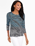 Blocked Stripes Luxe Back-Button Balletneck Tee
