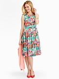 Impressionist Floral Fit-And-Flare Dress