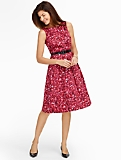 Sateen Fit-And-Flare Floral Dress