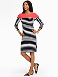Breton-Stripes Shoulder-Button Sweater Dress
