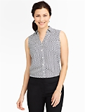 Talbots Nantucket Sleeveless Diamond Dots Shirt