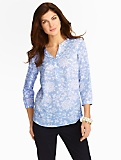 Ikat Flowers Cutaway Band-Collar Blouse