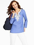 Lace-Trimmed Chambray Tunic