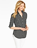Tunic-Length Denim Shirt - Grey Wash