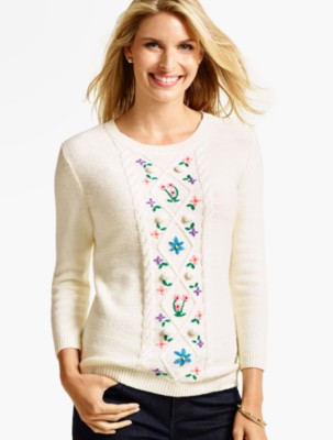 Talbots Women's Cabled Flower Embroidered Sweater prdi40766