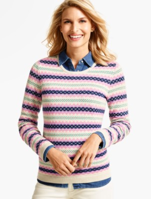 Talbots Women's Stripe Fair Isle Sweater prdi40658