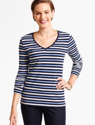 Talbots Women's Long Sleeve V Neck Tee Bold Stripes prdi40791