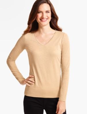 Talbots Women's Long Sleeve V Neck Tee Sparkle prdi40783