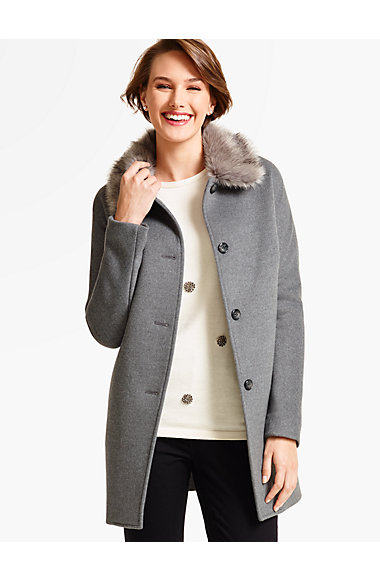 Short Faux Fur-Collar Coat-Neutral - Talbots