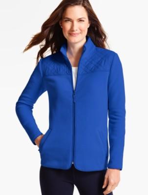 Talbots Women's Quilted Mock Neck Fleece Jacket prdi40956