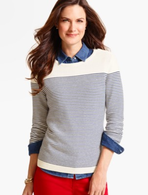Talbots Women's Zip Shoulder Block Stripe Sweater prdi40924