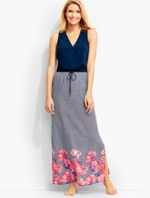 Talbots Women's Mixed Media Poolside Floral Dress prdi41785