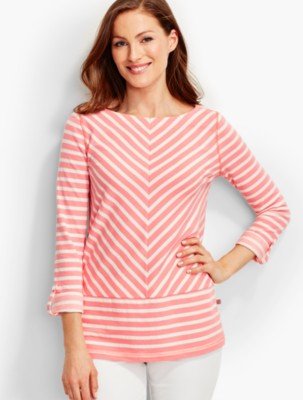 Talbots Women's Miter Stripes Pique Tunic prdi42105