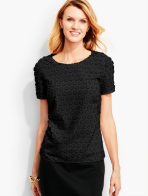 Talbots Women's Fringed Dot Lace Top prdi41774