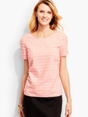 Talbots Women's Fringed Dot Lace Top prdi41774