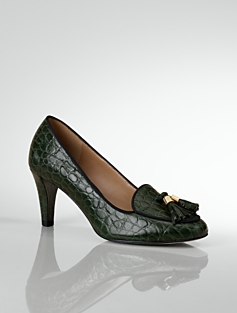 Fliss Croc-Embossed Tassel Pumps