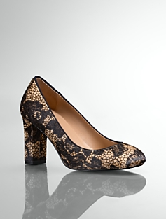 Gemma Lace-Print Haircalf Chunky-Heel Pumps