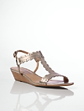 Jemi Metallic Leather Scalloped T-Strap Sandals