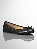 Jilly Croc-Embossed Leather Ballet Flats