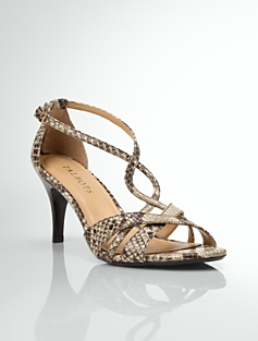 Lana Stamped-Python Strappy Sandals