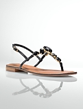 Linden Jeweled Leather Thong Sandals