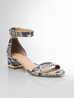 Parisi Stamped-Python Ankle-Strap Sandals